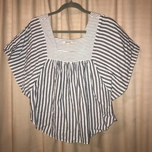 Madewell Grey and White Striped Blouse